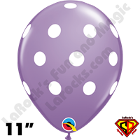 Qualatex 11 Inch Round Big Polka Dots Spring Lilac & White Balloons 50ct