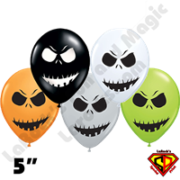 Qualatex 5 Inch Round Scary Face Assortment Balloons 100ct