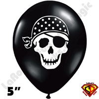 Qualatex 5 Inch Round Pirate Skull Black Balloons 100ct
