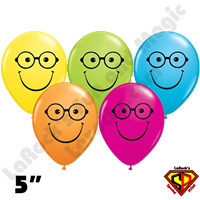 Qualatex 5 Inch Round Smile Nerd Assortment Balloons 100ct