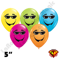 Qualatex 5 Inch Round Smile Cool Shade Assortment Balloons