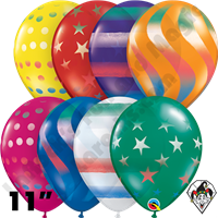 Qualatex | Imprinted Balloons | 11 Inch Round Sprays Jewel Assortment