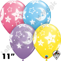 11 Inch Round Assortment Baby Moon & Stars Special Balloon Qualatex 50ct