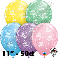 Qualatex 11 Inch Round Birthday-A-Round Pastel Assortment Balloons 50ct
