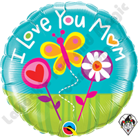 Qualatex 18 Inch Round I Love You Mom Butterfly Foil Balloon 1ct