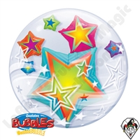 Qualatex 24 Inch Multicolored Stars Double Bubble 1ct