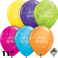 Qualatex 11 Inch Round Birthday Shining Star Tropical Assortment Balloons 50ct