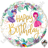18 Inch Round Birthday Wild Flower Fairies Foil Balloon Qualatex 1ct.