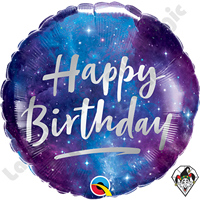 18 Inch Round Birthday Galaxy Foil Balloon Qualatex 1ct.