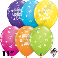 Qualatex 11 Inch Round Tropical Assortment Mother's Day Hearts & Dots Balloons 50 Ct