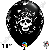 11 Inch Round Pirate Skull & Cross Bones Qualatex 50ct