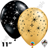 Qualatex 11 Inch Round Sparkles & Swirls Gold & Onyx Black Balloons 50ct