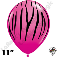 Qualatex 11 Inch Round Zebra Stripes Wild Berry Balloons 50ct