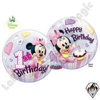 Qualatex 22 Inch Minnie Mouse Disney 1st Birthday Bubble 1ct