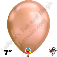Qualatex 7 Inch Round Chrome Rose Gold Balloons 100ct