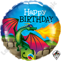 18 Inch Round Birthday Mythical Dragon Foil Balloon Qualatex 1ct.