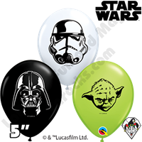 Qualatex 5 Inch Round Star Wars Face Assortment Balloons 100ct