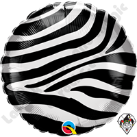 18 Inch Round Zebra Stripes Pattern Foil Balloon Qualatex 1ct.