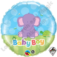Qualatex 18 Inch Round Baby Boy Elephant Foil Balloon 1ct