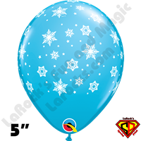 Qualatex 5 Inch Round Snowflake Robins Egg Blue Balloons 100ct