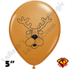 Qualatex 5 Inch Round Reindeer Face Balloons 100ct