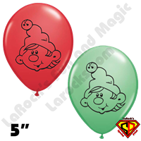 Qualatex 5 Inch Round Elf Red/Green Balloons 50ctx