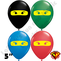 5 Inch Round Ninja L/Yellow Mask Qualatex