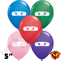 Qualatex 5 Inch Round Ninja Multi Color White Mask Balloons 100ct