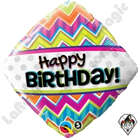Qualatex 18 Inch Diamond Birthday Chevron Patterns Foil Balloon