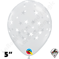 5 Inch Round Contempo Stars-A-Round Diamond Clear Balloons Qualatex 100ct