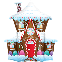 37 Inch Shape Decorated Gingerbread House Foil Balloon Qualatex 1ct