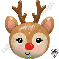 35 Inch Shape Red Nosed Reindeer Head Foil Balloon Qualatex 1ct
