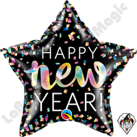 20 Inch Star New Year iridescent Foil Balloon Qualatex 1ct