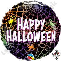 18 Inch Round Halloween Spiders & Webs Foil Balloon Qualatex 1ct.