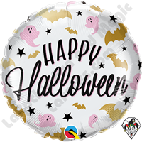 18 Inch Round Halloween Glam Bats & Ghosts Foil Balloon Qualatex 1ct.