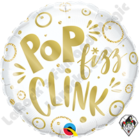 18 Inch Round Pop Fizz Clink Foil Balloon Qualatex 1ct.