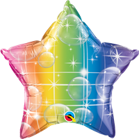 20 Inch Star Rainbow Star Foil Balloon Qualatex 1ct