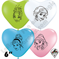 Qualatex 6 Inch Heart Disney Princess Balloons 100ct