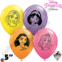5 Inch Round Assortment Disney Princess Faces Qualatex 100ct