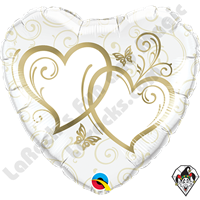 Qualatex 18 Inch Heart Entwined Hearts Gold Foil Balloon 1ct