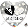 Qualatex 18 Inch Heart Mr and Mrs Wedding Foil Balloon 1ct
