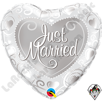 Qualatex 18 Inch Heart Just Married Hearts Silver Foil Balloon 1ct