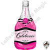 Qualatex 39 inch Bottle Celebrate Pink Bubbly Wine Bottle Foil Balloon 1ct