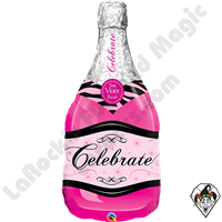 39 inch Shape Celebrate Pink Bubbly Wine Bottle Foil Qualatex Balloon 1ct