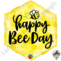 20 Inch Hexagon Happy Bee Day Foil Balloon Qualatex 1ct
