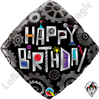 18 Inch Diamond Birthday Robot Cogwheels Foil Balloon Qualatex 1ct.