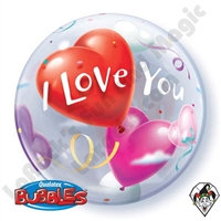 22 Inch I Love You Heart Bubble Balloon Qualatex 1ct