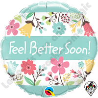 18 Inch Round Feel Better Soon! Floral Foil Balloon Qualatex 1ct.
