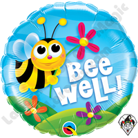 18 Inch Round Bee Well Flowers Foil Balloon Qualatex 1ct.