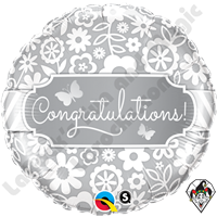 Qualatex 18 Inch Round Congratulations Butterflies Foil Balloon 1ct.